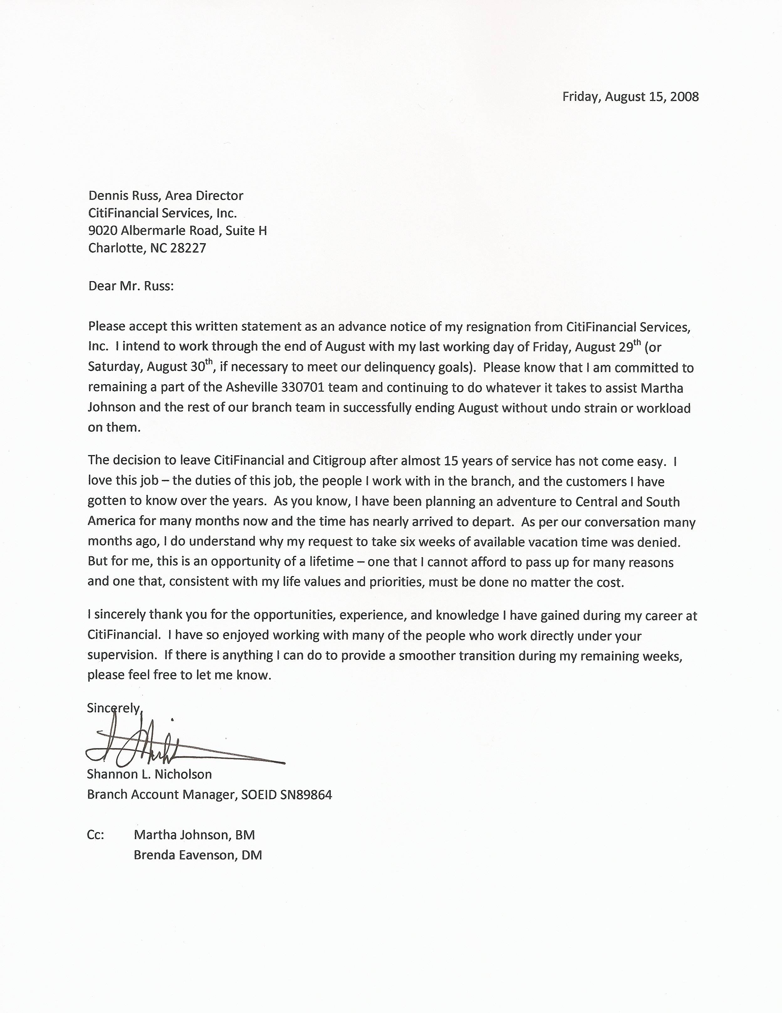 resignation letter resignation letter sample formal resignation letter ...